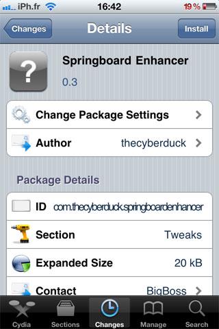 springboardenhancer Cydia   SpringBoard Enhancer : Améliorez le layout des icônes