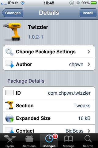 twizller Cydia   Twizzler : Supprimez la barre noire de Twitter