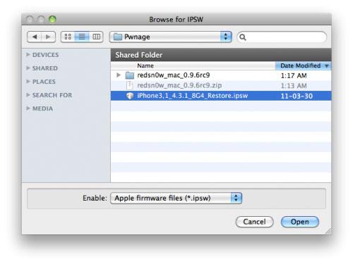 02 Tutoriel – Jailbreak 4.3.1 Untethered Redsn0w 0.9.6rc9 [MAC][WINDOWS]