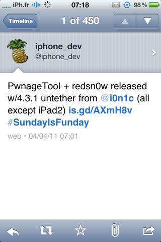 20110404 071926 Jailbreak News   Redsn0w et PwnageTool mis à jour : jailbreak untethered iOS 4.3 / 4.3.1