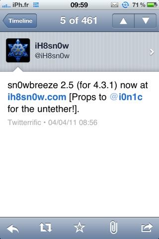 20110404 100156 Jailbreak News   Sn0wbreeze passe en version 2.5 : jailbreak untethered iOS 4.3