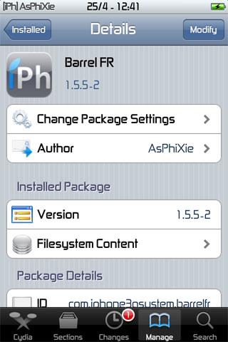 IMG 0107 iPhRepo   Mise à jour de Barrel FR en version 1.5.5 2