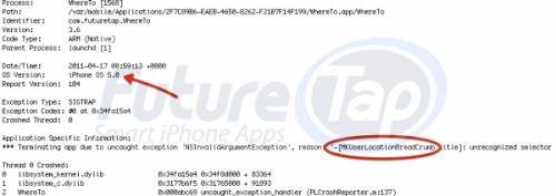 crashio5 500x177 News   Rapport de crash dune application testée avec un appareil tournant sous iOS 5