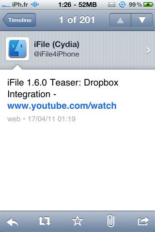 ifile1.6.0 Cydia   iFile 1.6.0 : Aperçu vidéo de lintégration de DropBox