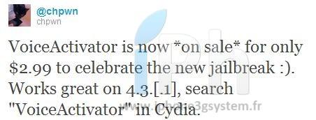 iphone3gsystem.fr voice activator Cydia   Voice Activator passe à 2,99$