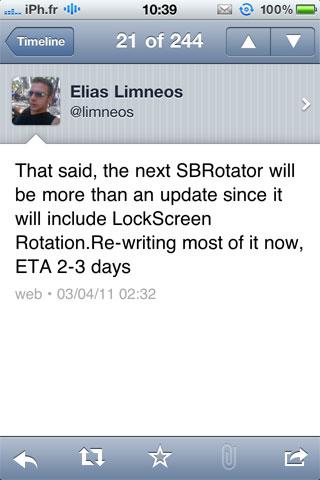 sbrotatorarrive2 Cydia   Une nouvelle version de SBRotator prévue dans la semaine