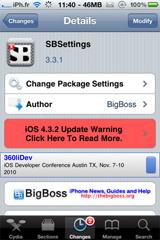 sbsettings2 Cydia   SBSettings passe en version 3.3.1