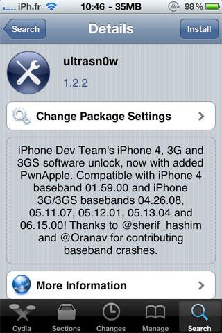 ultrasnow Jailbreak News   Ultrasn0w passe en version 1.2.2 : Support iOS 4.3.2