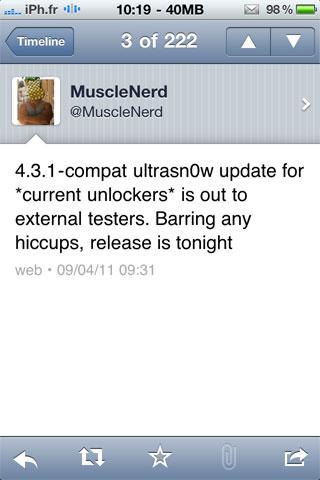 ultrasnow4.3.1 Jailbreak News   La prochaine version dultrasn0w pour liOS 4.3.1 arrive bientôt