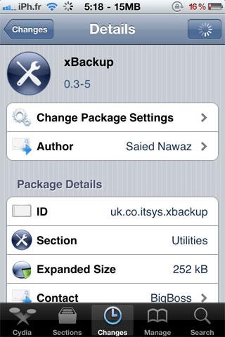 xbackup Cydia   xBackup : Un nouvel utilitaire de sauvegarde