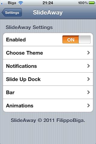 421657342764 Cydia   SlideAway disponible sur le Cydia Store