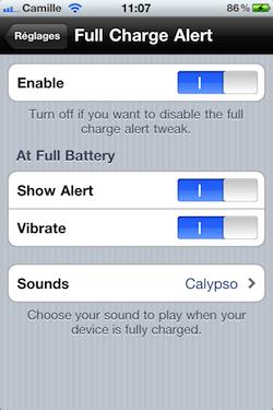 IMG 1250 Cydia   Full Charge Alert : Soyez prévenu lorsque votre iDevice est rechargé à 100% [Dispo sur la repo]