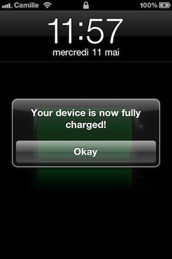 IMG 1251 Cydia   Full Charge Alert : Soyez prévenu lorsque votre iDevice est rechargé à 100% [Dispo sur la repo]
