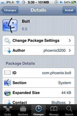 bolt1 Cydia   Bolt : Supprimez licône de la batterie de votre barre de statut