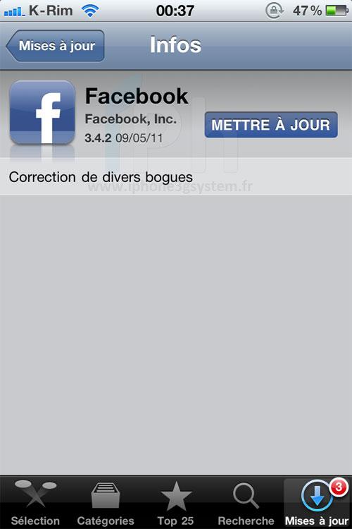 facebook AppStore   Facebook passe en version 3.4.2