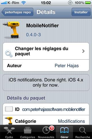 mobilenotifiermaj Cydia   MobileNotifier passe en version 0.4.0 3
