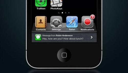 notif 500x286 News   Un nouveau concept des notifications push sous iOS 5