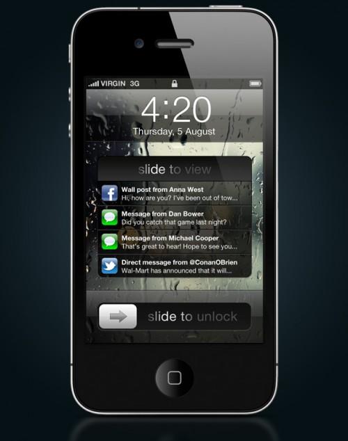 notifications lock screen 500x634 News   Un nouveau concept des notifications push sous iOS 5