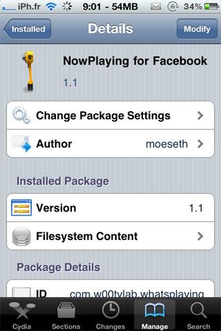 nowplayingcydia Cydia   NowPlaying for Facebook : Affichez la musique que vous écoutez sur votre mur Facebook