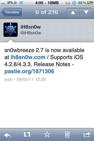 snowbreeze27 Jailbreak News   Sn0wBreeze 2.7 jailbreak liOS 4.3.3 de façon untethered