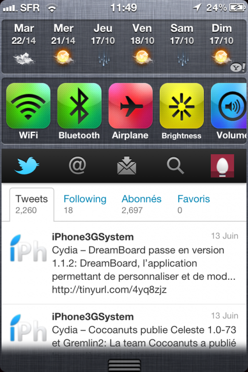 IMG 0647 500x750 Cydia   WeeTwitter : intégrer Twitter dans le NotificationCenter