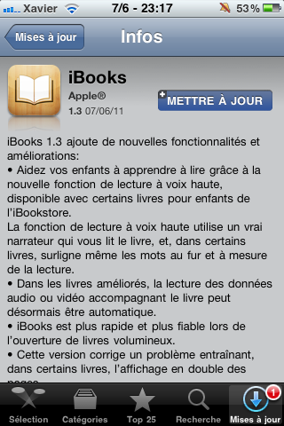 Photo 07 06 11 23 17 09 AppStore   iBooks se met à jour en version 1.3