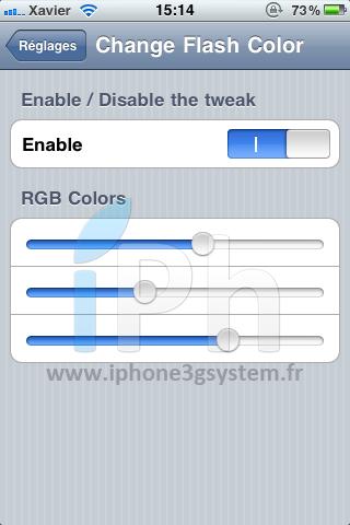 Photo 3 juin 2011 15 14 58 Cydia   Changez la couleur du flash lors dun screenshot