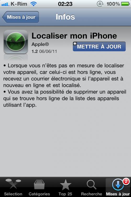 Screenshot taken at 02 23 on juin 7 2011 500x750 AppStore   FindMyiPhone se met à jour en version 1.2