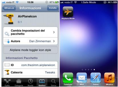 airplaneicon Cydia   AirPlaneModeIcon pour passer rapidement en mode avion