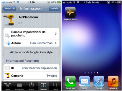 airplaneicon Cydia   AirPlaneModeIcon pour passer rapidement en mode avion