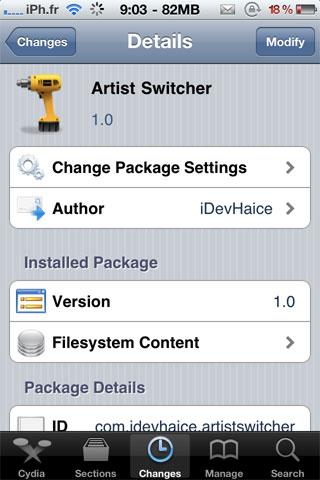 artistswitcher Cydia   Artist Switcher : Affichez le nom de lartiste dans le dock multitâche