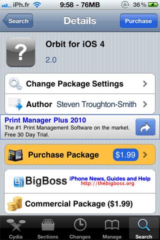 orbitforios Cydia   Orbit for iOS 4 : un Spaces pour iOS