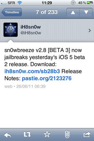 snowbreeze1 Jailbreak News   sn0wBreeze 2.8 beta 3 jailbreak liOS 5.0 beta 2 de façon tethered