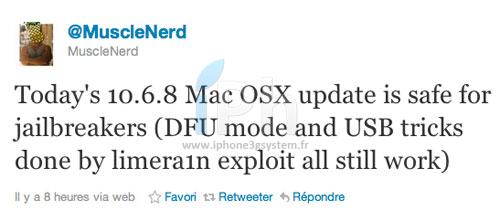tweet muscleNerd Jailbreak News   MAC OS X 10.6.8 ne bloque pas le Jailbreak