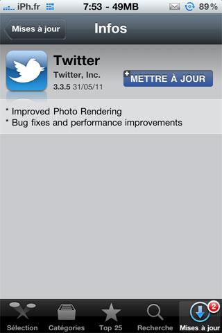 twittermaj335 AppStore   Twitter passe en version 3.3.5