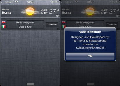 weertanslete Cydia   weeTranslate ajoute un traducteur dans le notification center de liOS 5