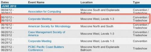 wwdc21012 Rumeurs   Apple aurait elle déjà réservé le Moscon Center pour la période du 10 au 15 Juin 2012 ?