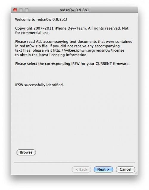 0.9.8 500x637 Tutoriel   Jailbreak iOS 5 bêta 6 avec RedSn0w