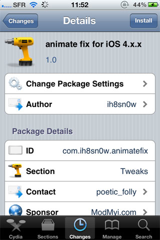 animatefix Cydia   animate fix for iOS 4.x.x active le boot logo sur votre appareil