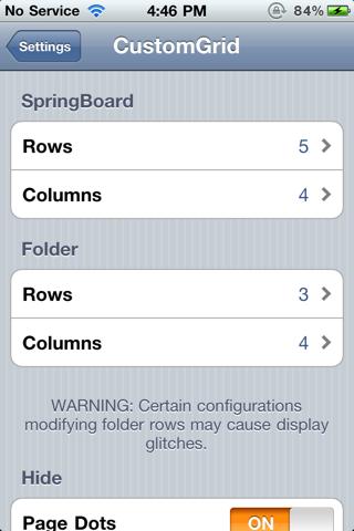 customgrid4 Cydia   CustomGrid : personnaliser le nombre de colonnes et de lignes de votre SpringBoard