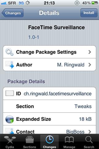 facetimesuervillance Cydia   FaceTime Surveillance répond automatiquement à FaceTime