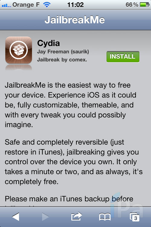 iph Tutoriel – Jailbreak 4.3.3 Untethered avec JailbreakMe 3.0