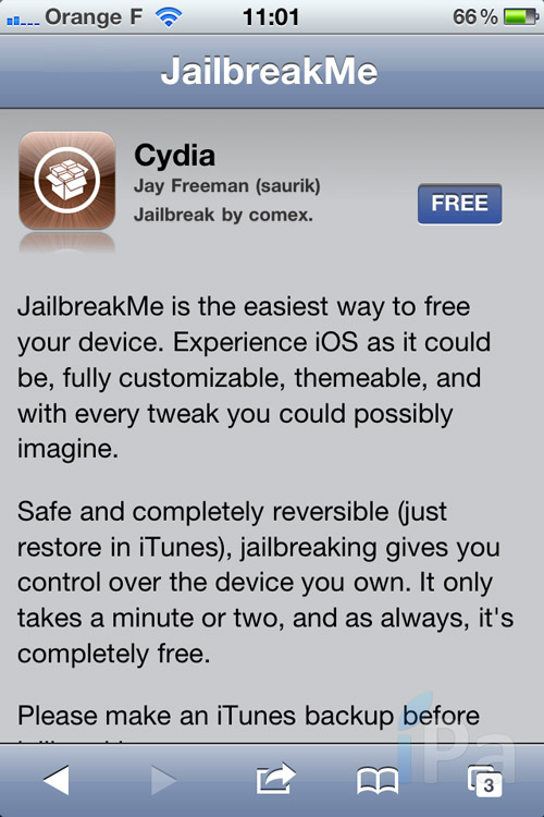 iph2 Tutoriel – Jailbreak 4.3.3 Untethered avec JailbreakMe 3.0