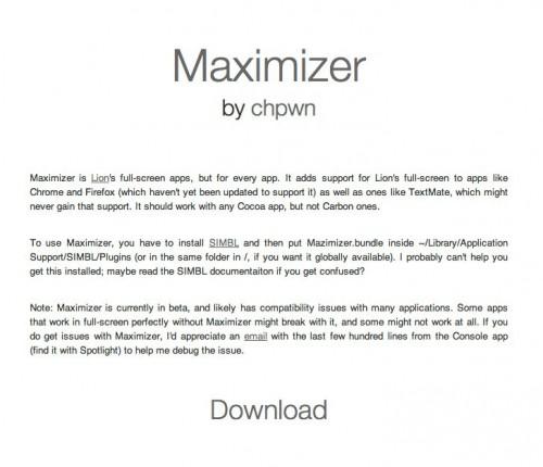 maximizer 500x430 Mac News   Maximizer, un tweak pour Mac OS X 10.7 Lion par chpwn