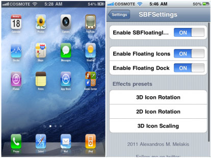 sbfloating2 Cydia   SBFloatingIcons ajoute des effets aux icônes de votre springboard [VIDEO]