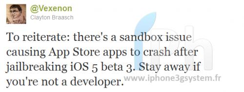 vexenon 500x189 News   Problèmes de lancement dapplications App Store suite au jailbreak de liOS 5 beta 3