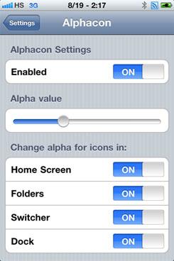 28 Cydia   Alphacon : Régler la transparence des icônes