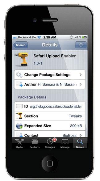 Safari Upload Enabler Cydia   Safari Upload Enabler active lupload de fichier sous Safari mobile