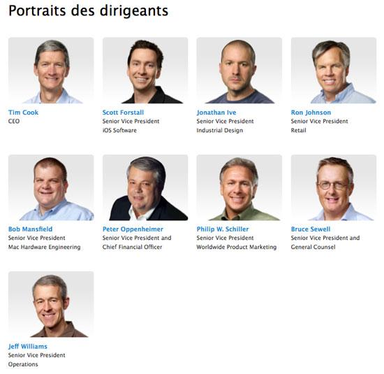 directionapple News   La page officielle des portraits des dirigeants dApple mis à jour