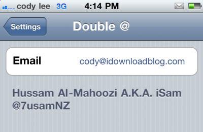doublat Cydia   Double At : Ecrivez votre adresse mail en double tapant sur la touche @ [VIDEO]